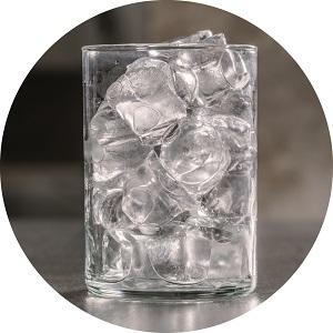 Scotsman Gourmet Supercube ice in a glass